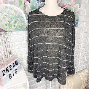 FSL Apparel Grey Striped Knit Sweater Size M